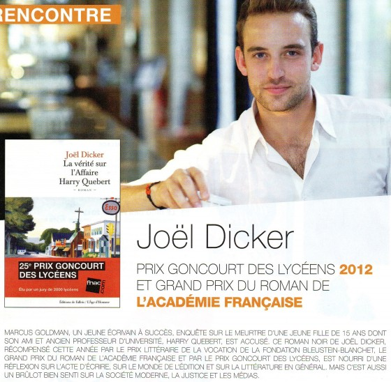 joël dicker, la vérité sur l'affaire harry quebert, interview, mandor, actufnac