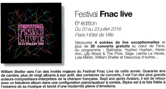 festival fnac live 2016, william sheller, interview, mandor