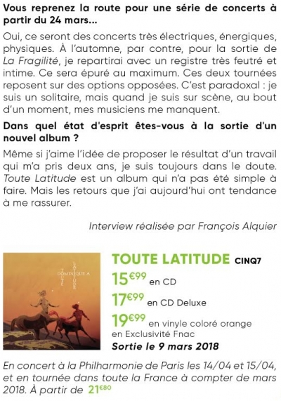 dominique a,toute latitude,interview,contact fnac,mandor,sébastien laudenbach